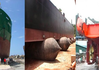 Botaduras de Barcos Reparación de Buques Salvamento Marítimo Utilizando Bolsas de Aire de Caucho