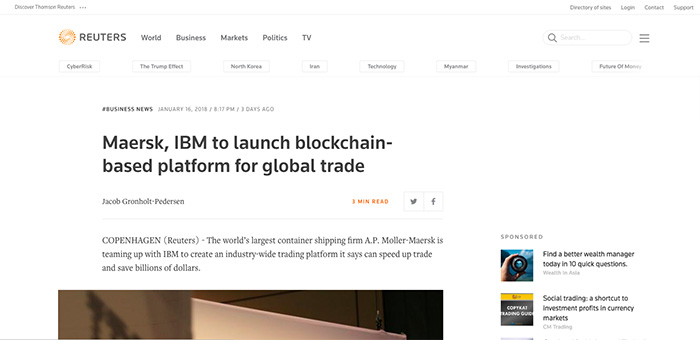 reuters-2018-ibm-maersk-blockchain-news
